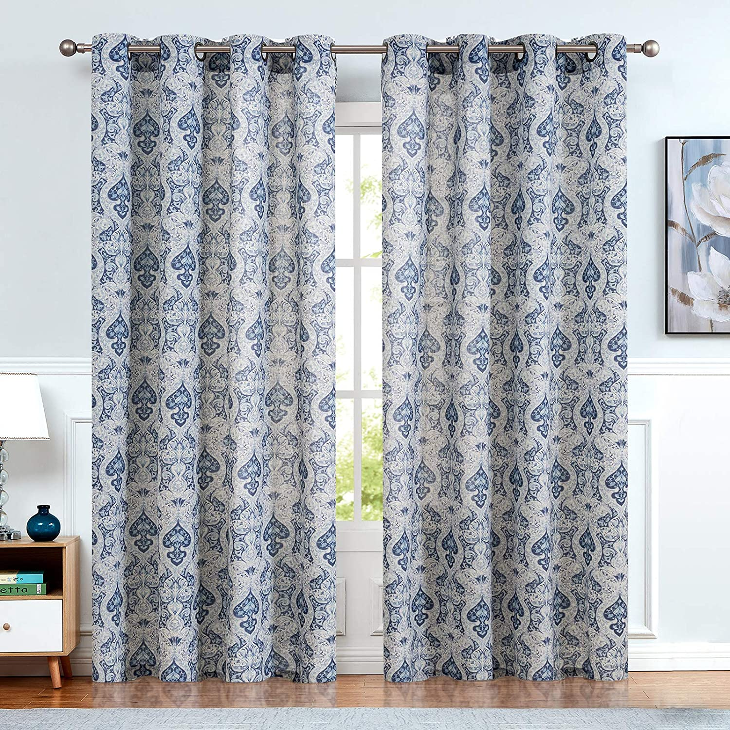 jinchan Damask Printed Paisley Tie Up Shade Curtains Rod Pocket Drapes Multicolor Medallion Flax Living Rooms Window Curtain 1 Panel,42 45, Blue