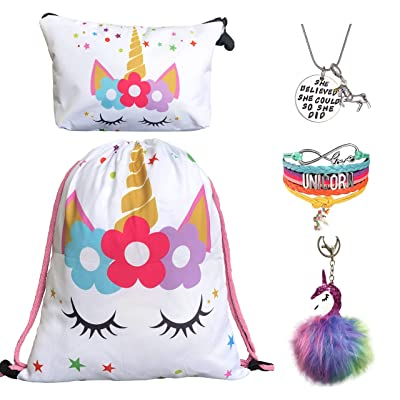 Unicorn Gifts for Girls - Unicorn Drawstring Backpack/Makeup Bag/Bracelet/Inspirational Necklace/Hair Ties (White Star with Keychain): Clothing