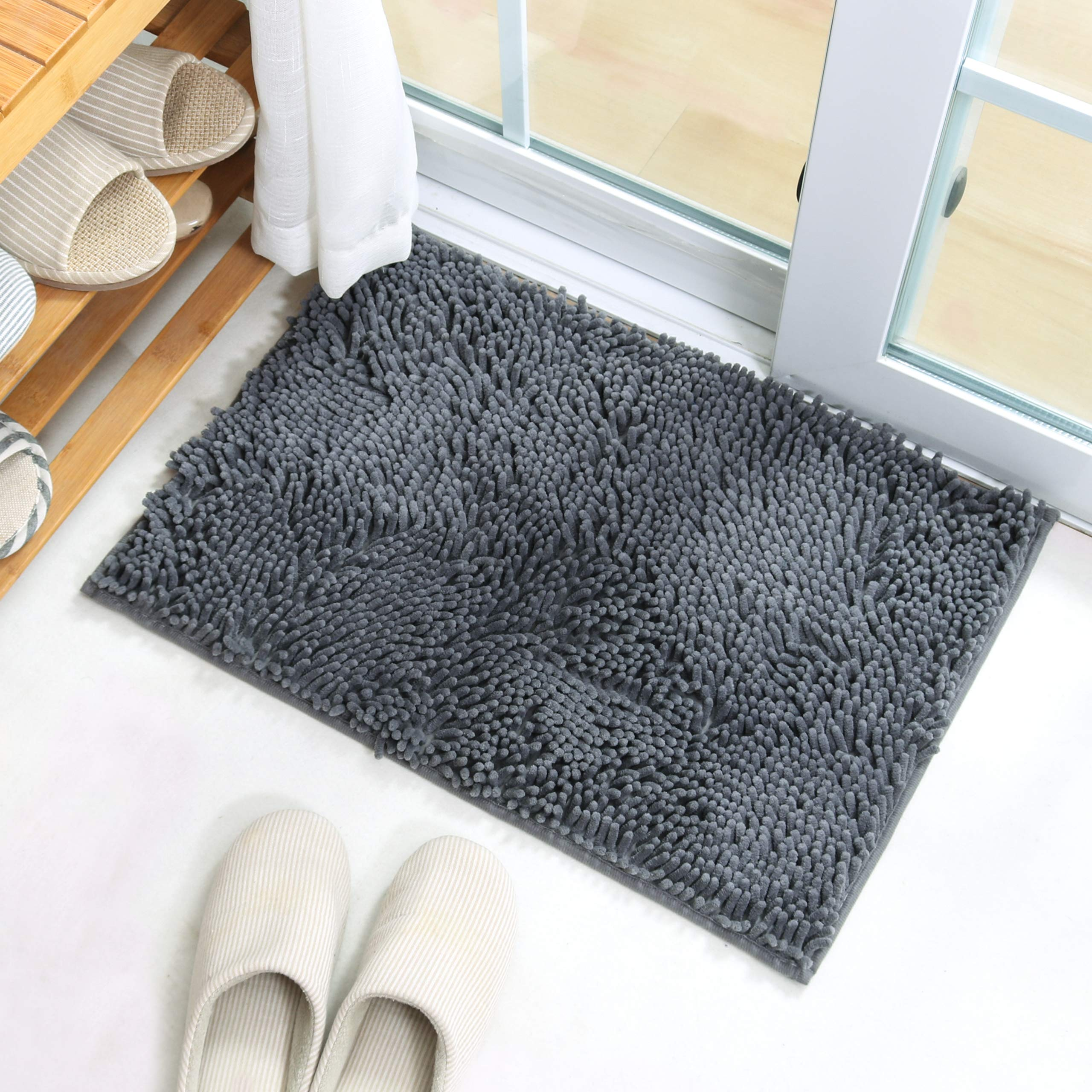 X·SOAR-Bath mats, Soft and Comfortable Bathroom Rugs,Absorbent,Shaggy and Fast Dry Bath Rugs, Non-Slip Kitchen mat.(20''×32'' inch, Iron) by X·SOAR (Image #5)