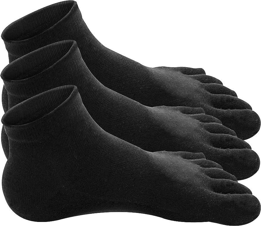 Traveler Algodón 100% Calcetines Dedos Five Fingers Mujer (No.1-71 / Calcetines de tobillo para Mujer – Negro – 6 Pares): Amazon.es: Ropa y accesorios
