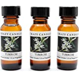 Tuberose 3 Bottles 1/2 Fl Oz Each (15ml) Premium Grade Scented Fragrance Oil By Crazy Candles (Heavy, White Floral with Tropical Blossoms)