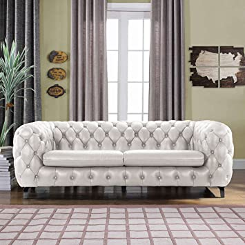 Modern Real Leather Tufted Chesterfield Sofa Couch With Built In Shelving  Space (Ivory)