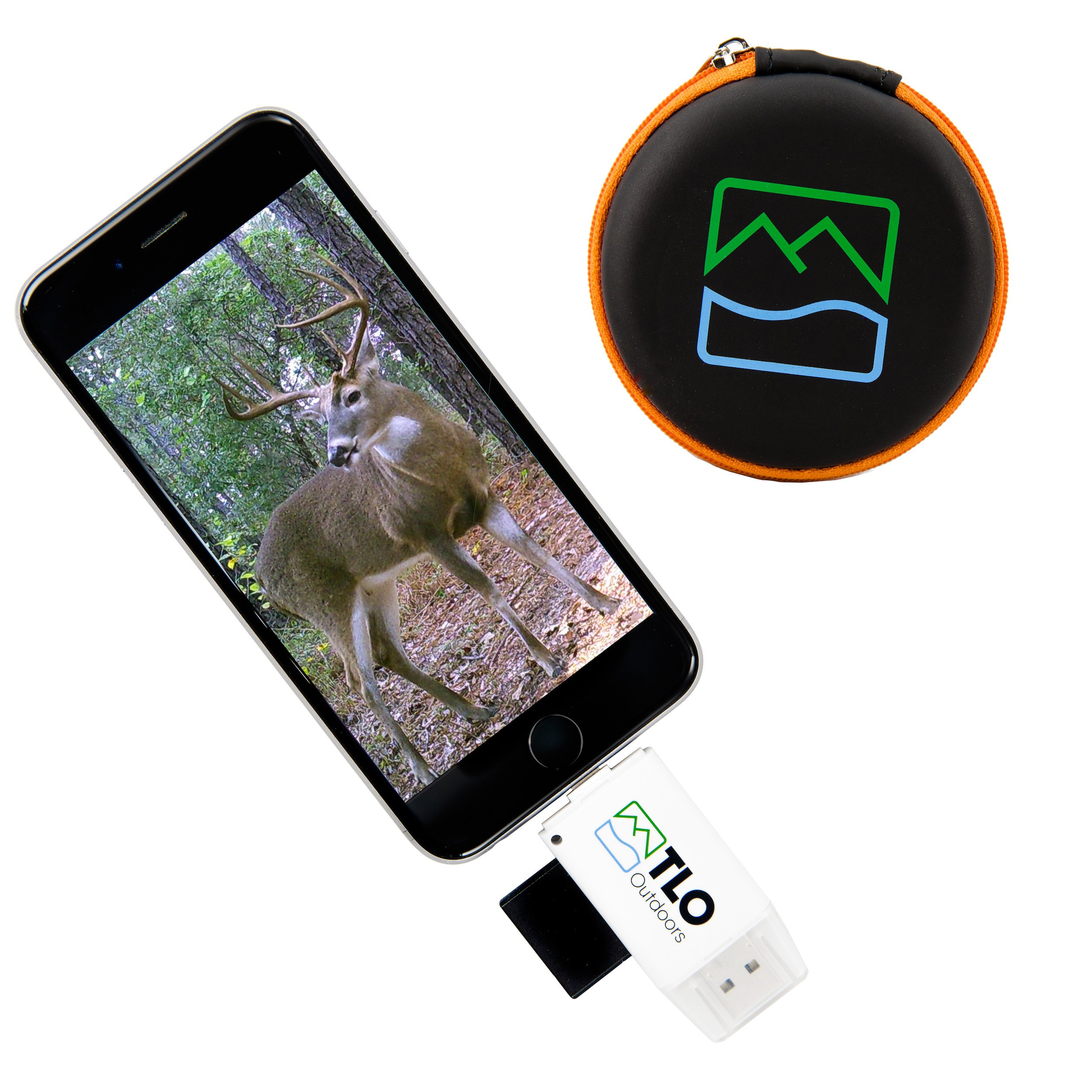 TLO Outdoors TrophyTracker Trail Camera Viewer - for iPhone, Android, iPad - Great for Hunters and Sportsmen, Includes Extender and Protective Carrying Case (SD/MicroSD/USB Card Reader) Improved V2