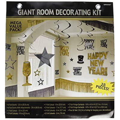 New Year Gold Foil Room Decorating Kit, 28 Ct. | Party Decoration: Toys & Games