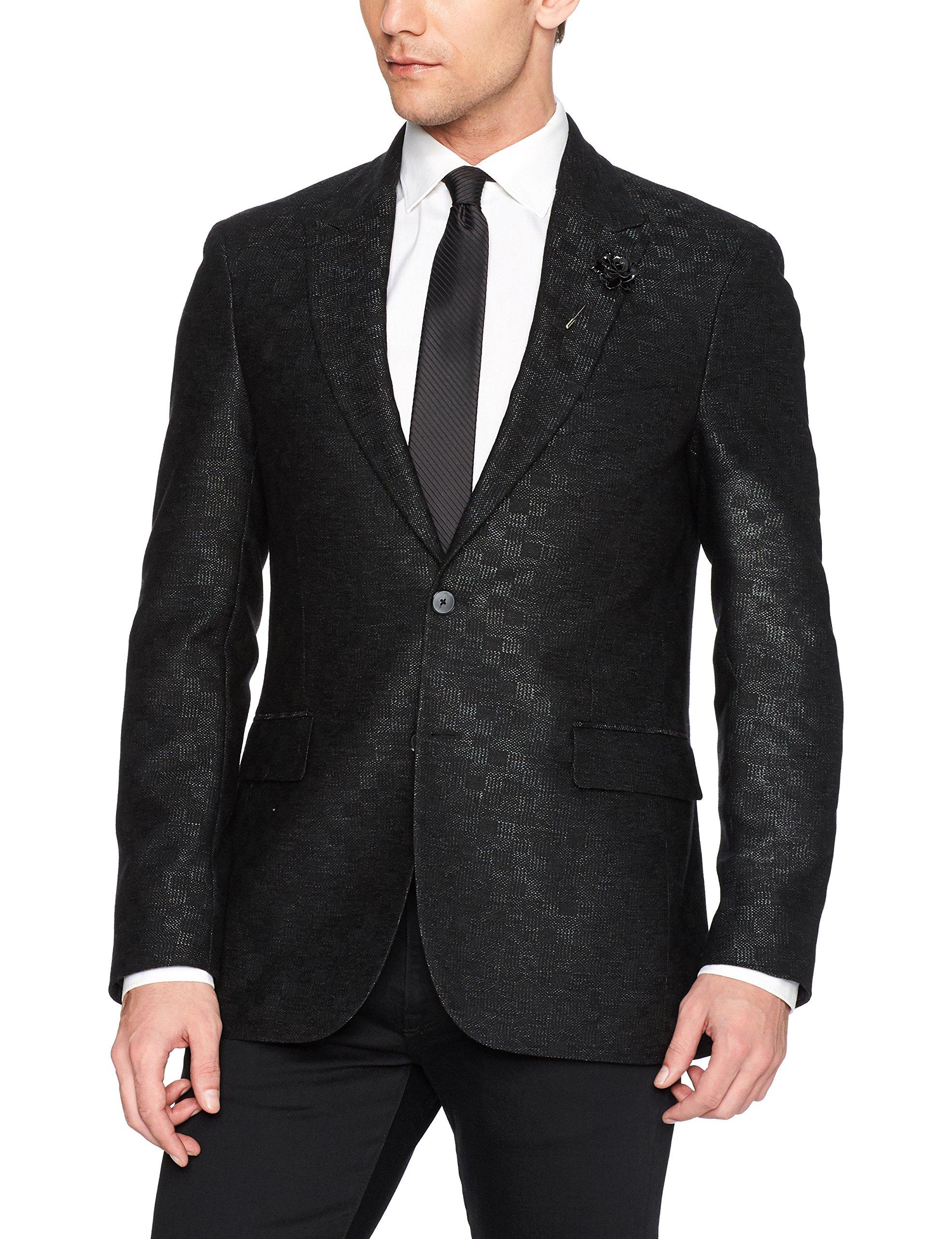 Robert Graham Men's Gagarin Tailored Fit Sport Coat, Black, 44