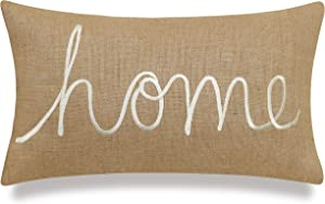 "EURASIA DECOR DecorHouzz Burlap Rustic Home Sweet Home Embroidered Decorative Lumbar Pillow for Housewarming Guest Entry Way Family Farmhouse Beach Porch Bench Gift (Home (Natural), 12""x20"")"