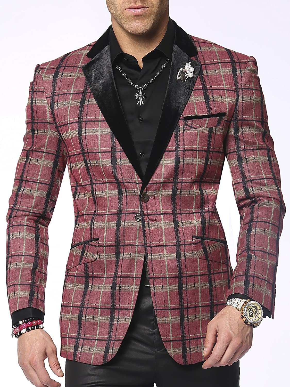 Men's Plaid Sports Coat Blazer Nico Pink