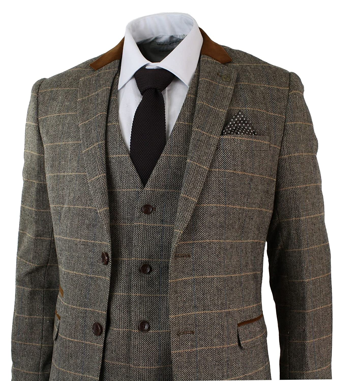 Marc Darcy Mens Check Vintage Herringbone Tweed Tan Brown 3 Piece ...