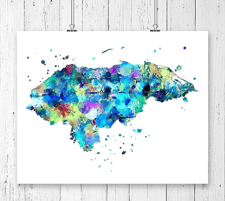 Honduras Watercolor Map Wall Art Home Decor Poster Artwork Gift Print UNFRAMED