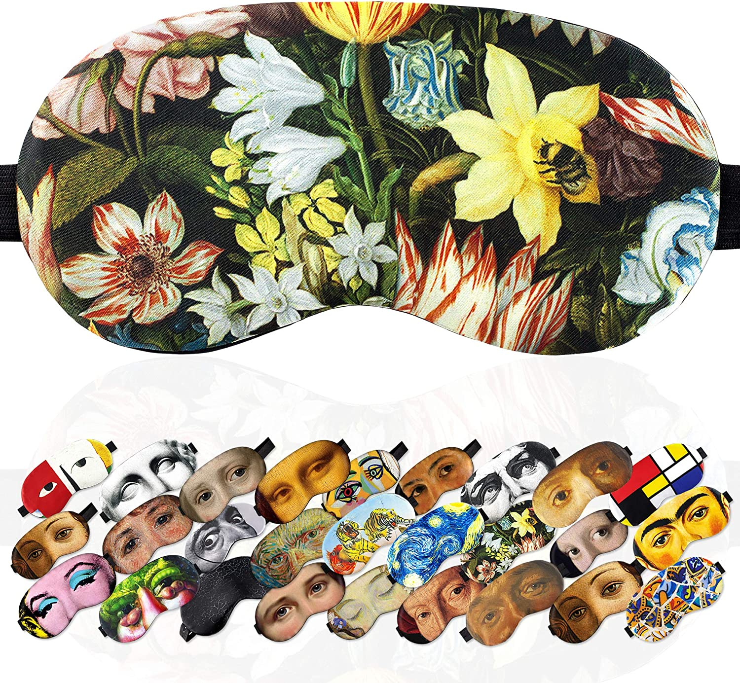 Sleep Mask Still Life of Flowers Masterpiece for Women - 100% Soft Cotton - Comfortable Eye Sleeping Mask Night Cover Blindfold for Travel Airplane (Still Life of Flowers, Gift Pack)