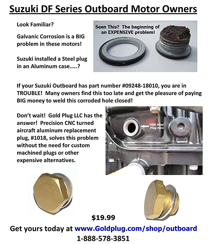 Suzuki Outboard Exhaust Plug - Aluminum Corrosion FIX - Replaces #  09248-18010