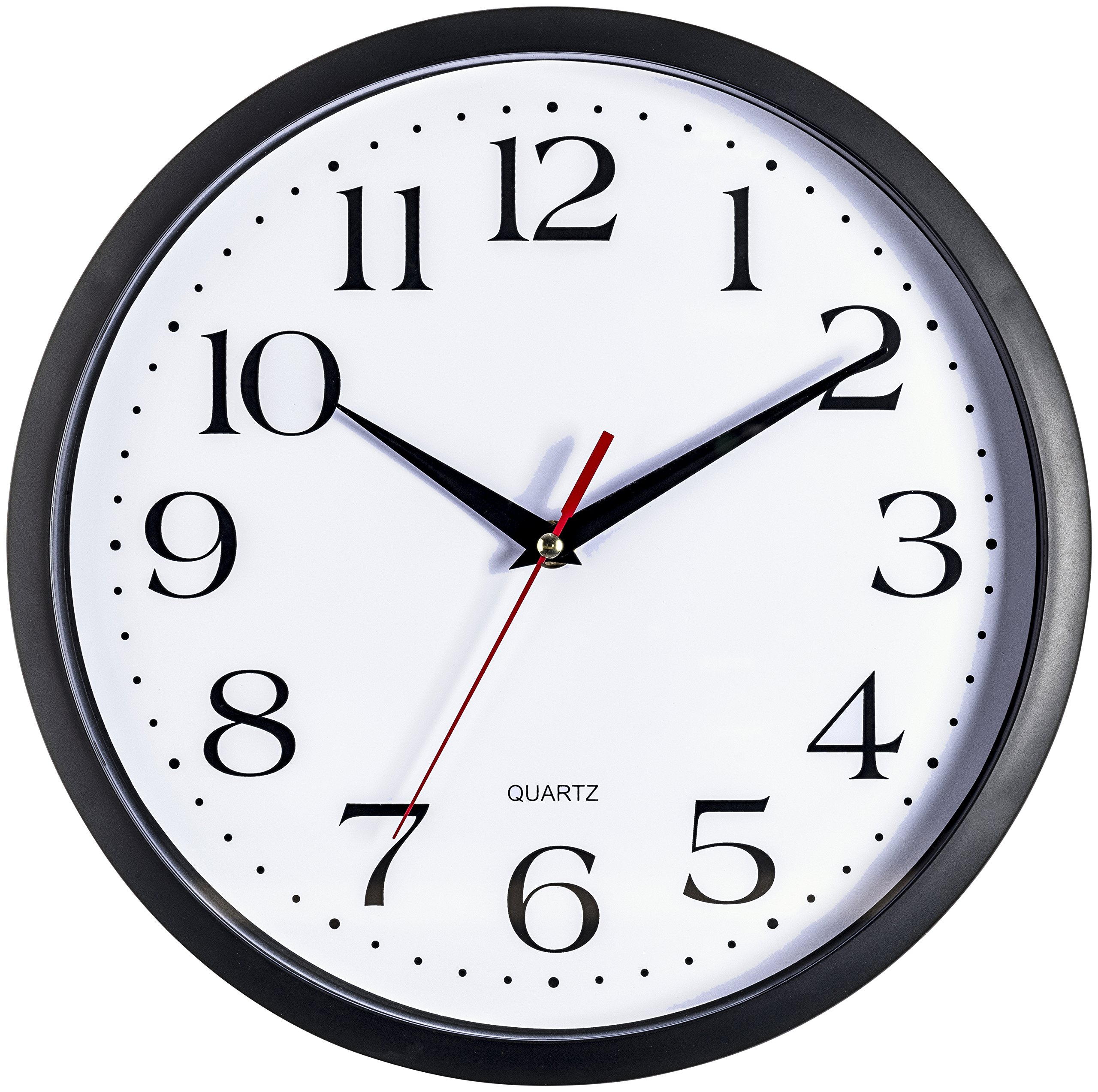 Bernhard Products Black Wall Clock, Silent Non Ticking - 12 Inch Quality Quartz Battery Operated Round Easy to Read Home/Office/School Clock Sweep Movement by Bernhard Products