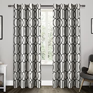 exclusive home curtains trincity grommet top window curtain panel pair black pearl 54x84