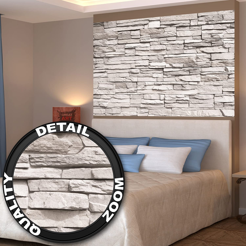 Muralla blanca, ópticas de piedra fotomurales -imagen de la pared- piedras decoración de La pared de by GREAT ART (140 x 100 cm): Amazon.es: Hogar