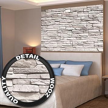 Wei§e Steinwand Fototapete Steinmauer Steinoptik Sandstein Asian Stonewall  Weiß XXL Wandbild Steine Wanddeko (