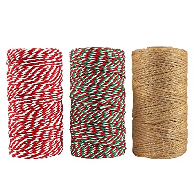 Resinta 3 Rolls Christmas Twine Cotton String Natural Jute Twine for Christmas Gift Wrapping DIY Arts Crafts 984 Feet Totally : Office Products