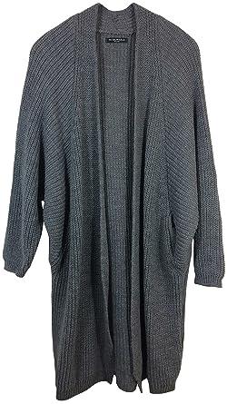 42dcf7c85a Damen Strickjacke aus hochwertigem Alpaka/Wolle-Mix, langer Grobstrick  Cardigan , vorne offen