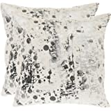 Safavieh Pillow Collection 20-Inch Modern Art Pillow, White Frost, Set of 2