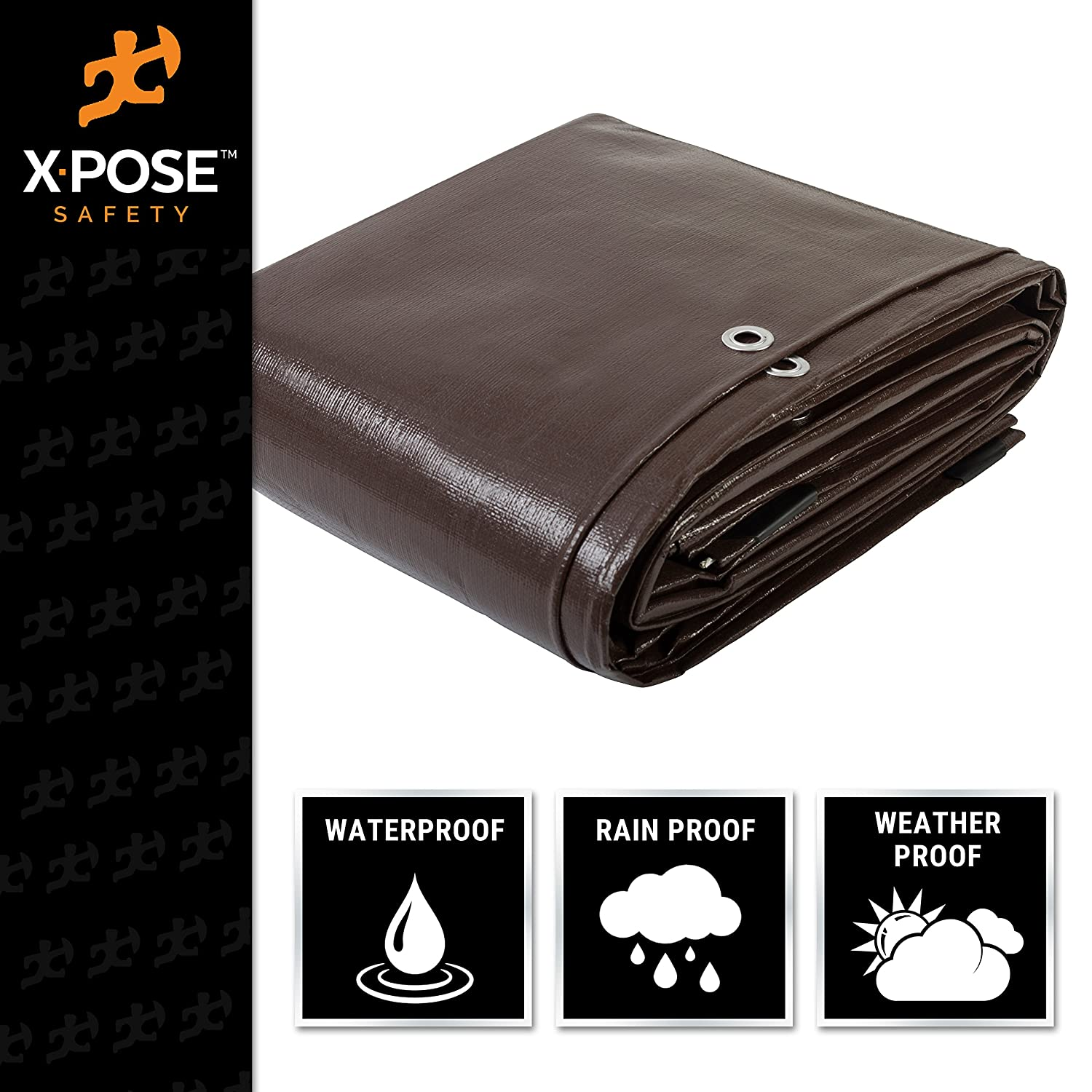 by Xpose Safety 30 x 40 Super Heavy Duty 16 Mil Brown Poly Tarp Cover Rot UV Resistant Thick Waterproof Rip and Tear Proof Tarpaulin with Grommets and Reinforced Edges