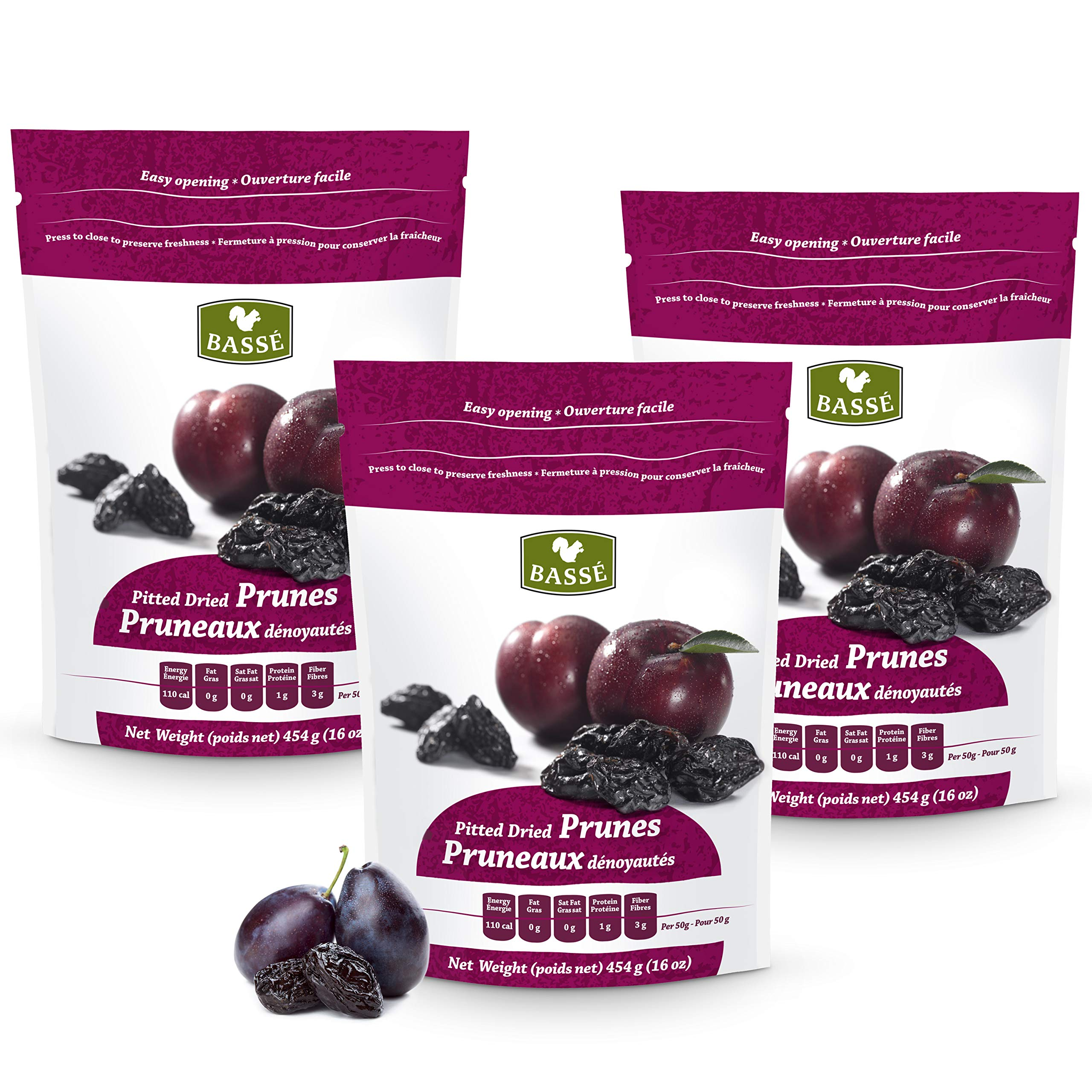 Basse Dried Pitted Prunes, California Dried Plums 3 Resealable Bags (1 Pound each) by Basse Nuts