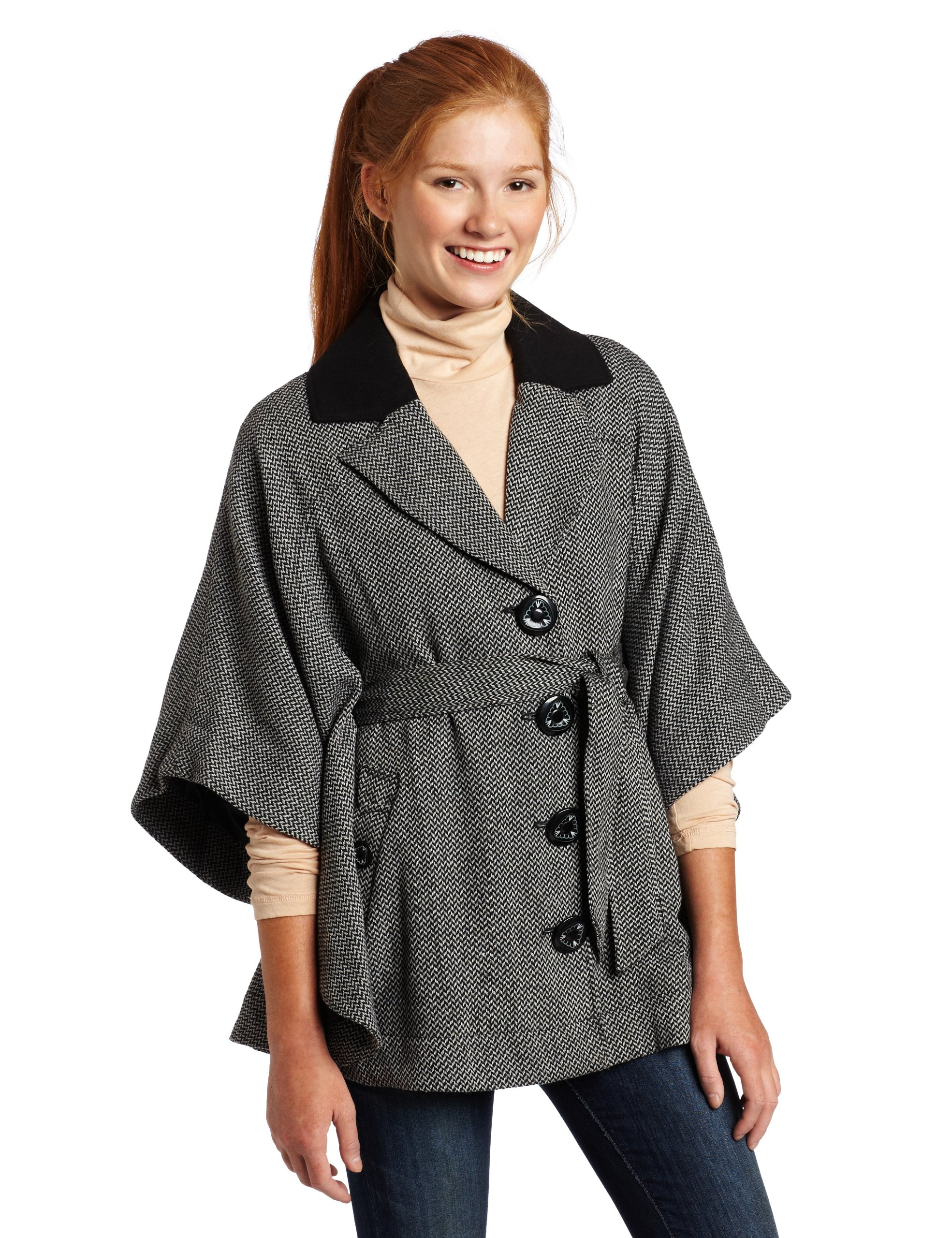 Jolt Juniors Cape Coat, Black, Medium