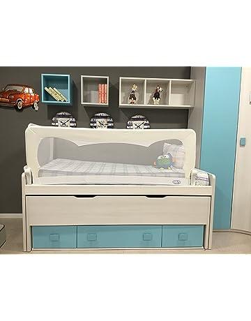 Barrera de cama para bebé, 180 x 65 cm. Modelo en blanco. Barrera