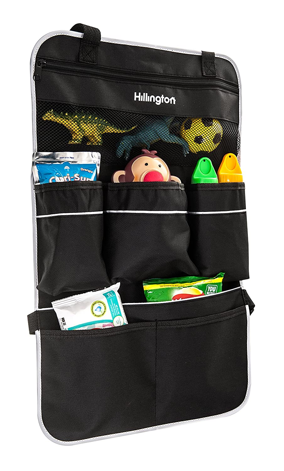Hillington ® Car Back Seat Organiser - Stylish Universal Car Van Back Seat Carry Caddy with 7 Large and Spacious Storage Pockets - Ideal for Storing Bottles, Maps, Wipes, Snacks, Books, Toys and Travel Essentials