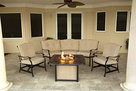Hanover 4-Piece Traditions Outdoor Cast Top Fire Pit Lounge Set, Natural Oat Antique Bronze