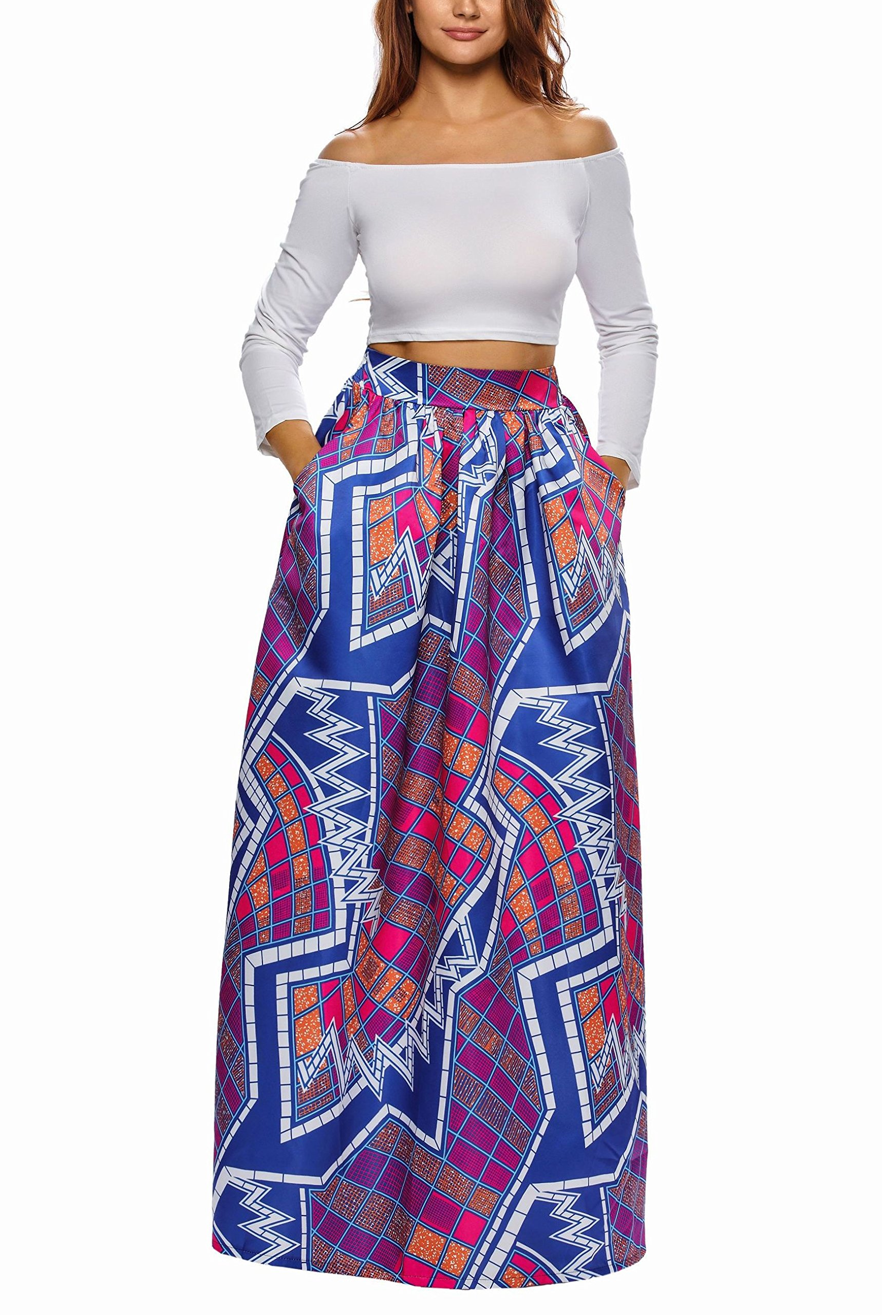 Afibi Women African Printed Casual Maxi Skirt Flared Skirt Multisize A Line Skirt (XXX-Large, Pattern 5) by Afibi