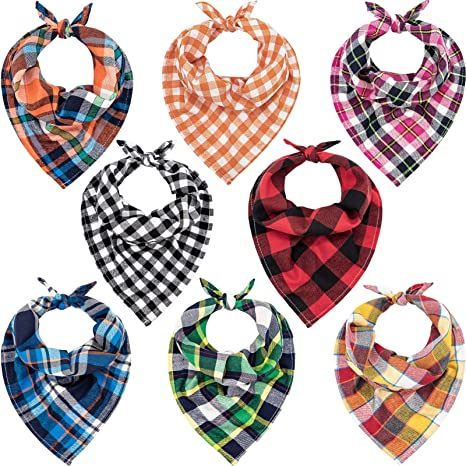 holiday preppy red navy plaid and solid tan pet dog bandana over the collar reversible multiple sizes handsewn