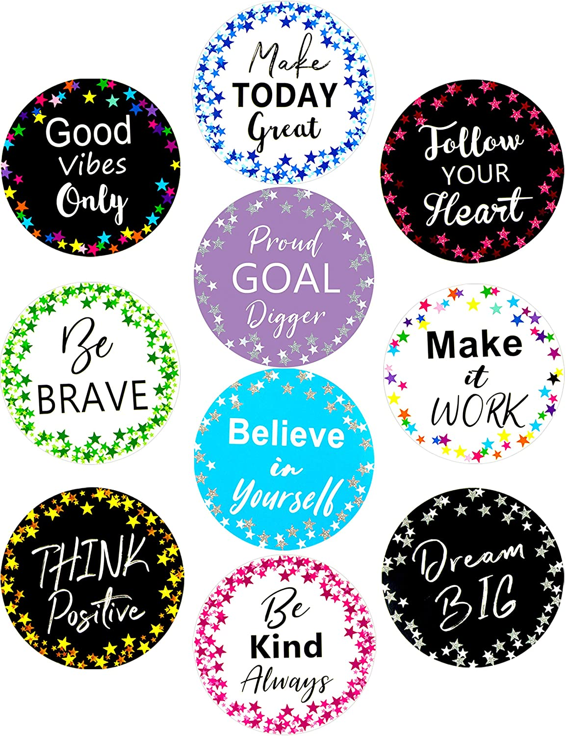 Classroom Bulletin Board Decoration Cutouts 20Pcs Confetti Stars Positive Sayings Accents for School Kids Room Decor Fancy Land