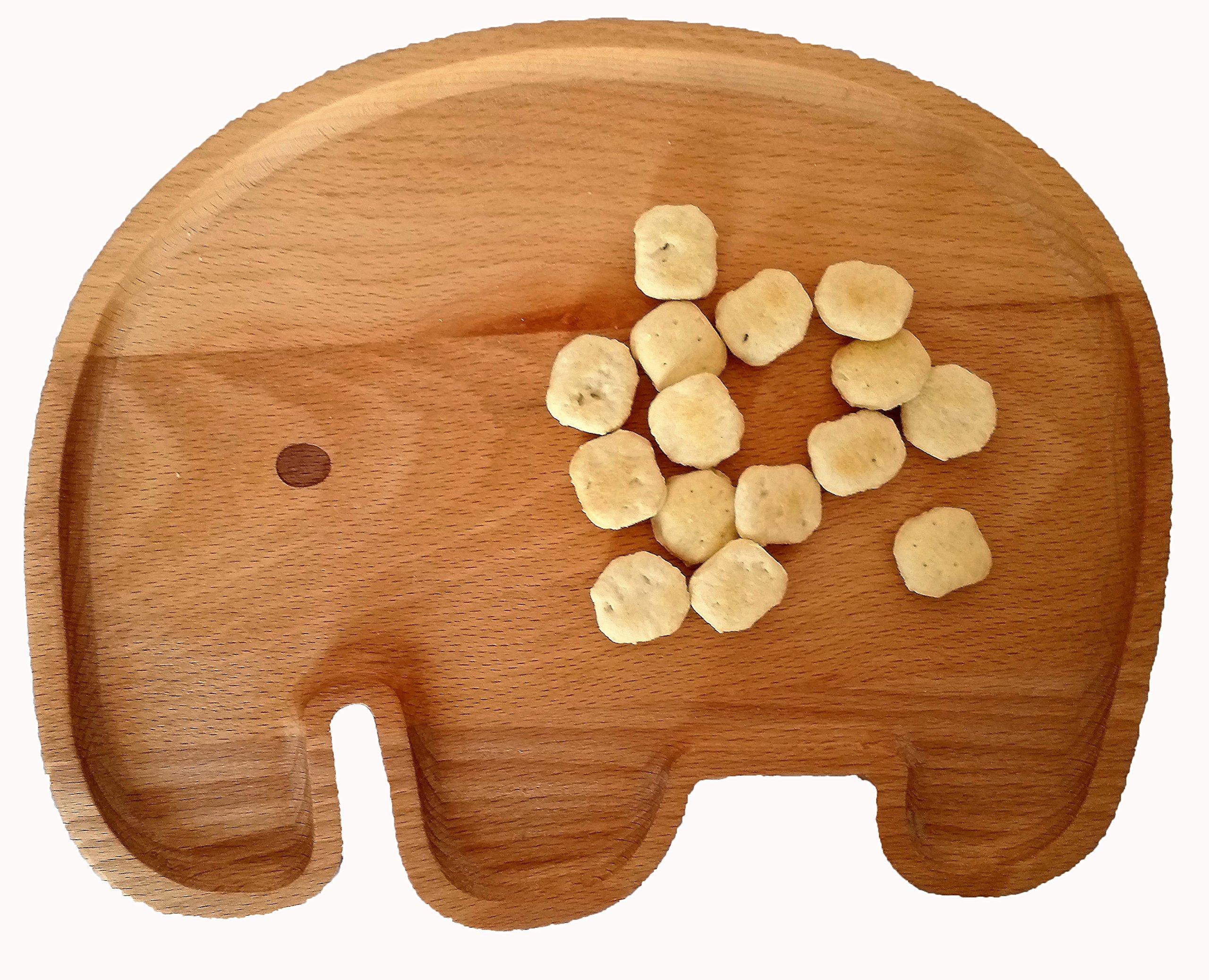Lifetime Inc Animal Tray Decoration Kids Room Nursery Playroom Kitchen Sunroom Hallway Entrance Decore 3D Natural Wood Whimsical (Elephant)