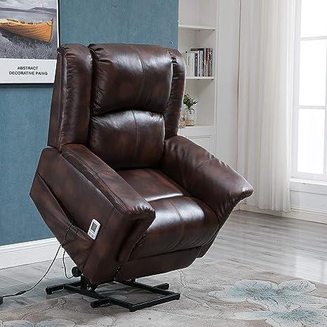 Astonishing Power Lift Chair Recliner Sofa For Elderly Pu Leather Heated Vibration Massage With Remote Control Luxury Brown Frankydiablos Diy Chair Ideas Frankydiabloscom