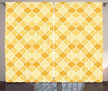 Quatrefoil Curtains By Ambesonne Age Old Trellis Pattern In The Shades Of Yellow Historical