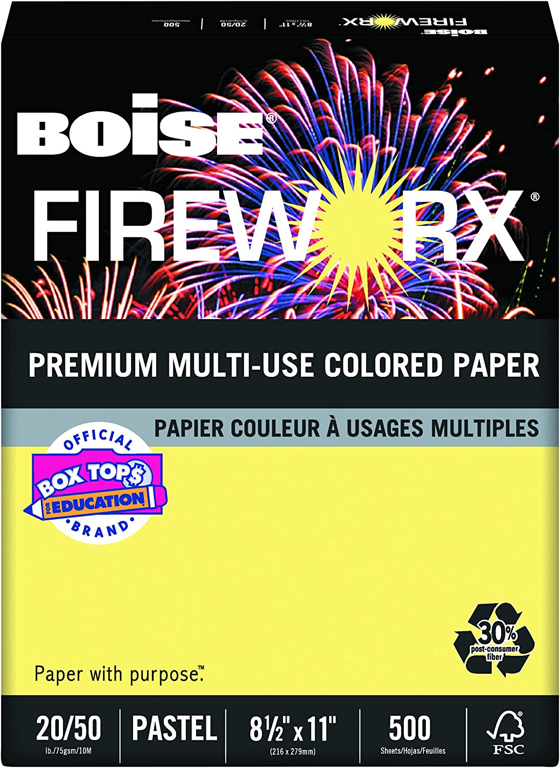 Boise Fireworx Color Copy/Laser Paper, 20 lb, Letter Size (8.5 x 11), Crackling Canary, 500 Sheets (MP2201-CY)