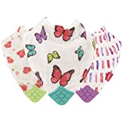 Nuby Reversible 100% Natural Cotton Muslin 3 Piece Teething Bib, Pink/Aqua/Purple, Flower/Butterfly/Stripes