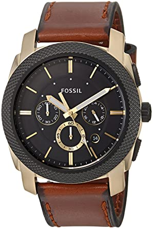 men p s watches brown grant light photo watch leather fossil chronograph