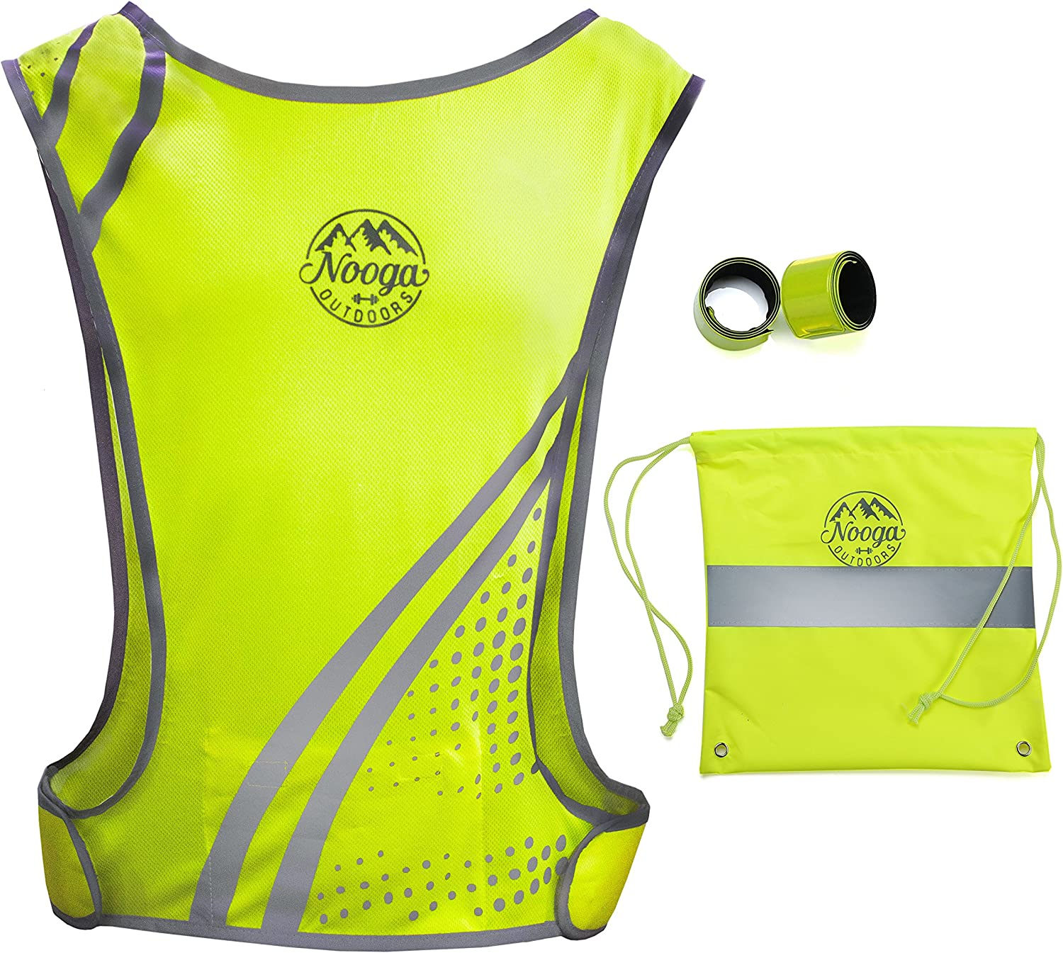 Reflective Running Vest with Pocket for Cycling Jogging Biking Hiking Dog Walking Motorcycle - High Visibility Outdoors Safety Gear, 2 Hi Vis Wristbands + Bag, Lightweight Fabric