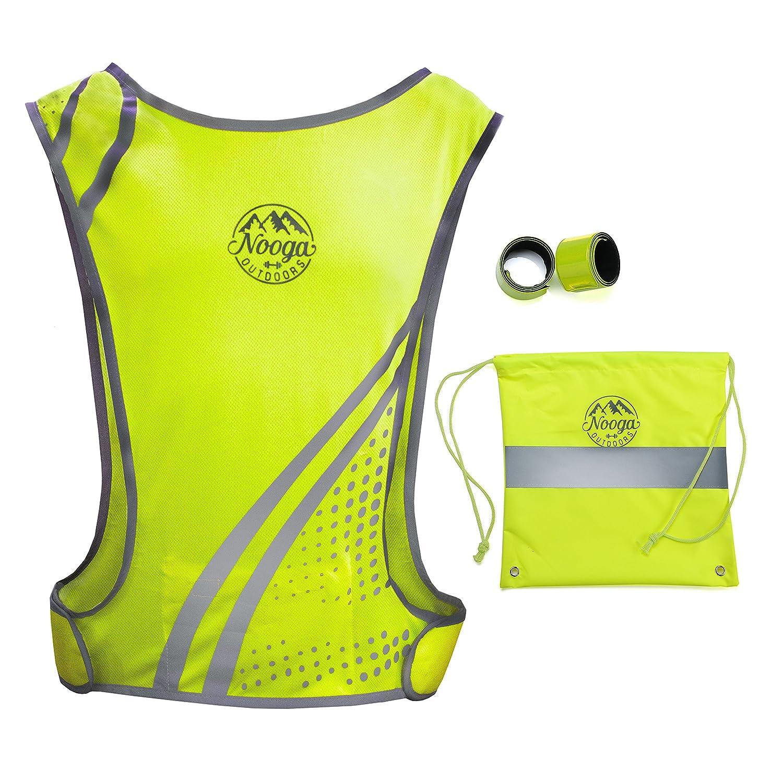 Reflective Running Vest With Pocket Forサイクリングジョギングサイクリングハイキング犬ウォーキングMotorcycle – 高い可視性安全ギア、2 Hi Vis Wristbands +バッグ、軽量ファブリック B075GSDDMC イエロー L-XL