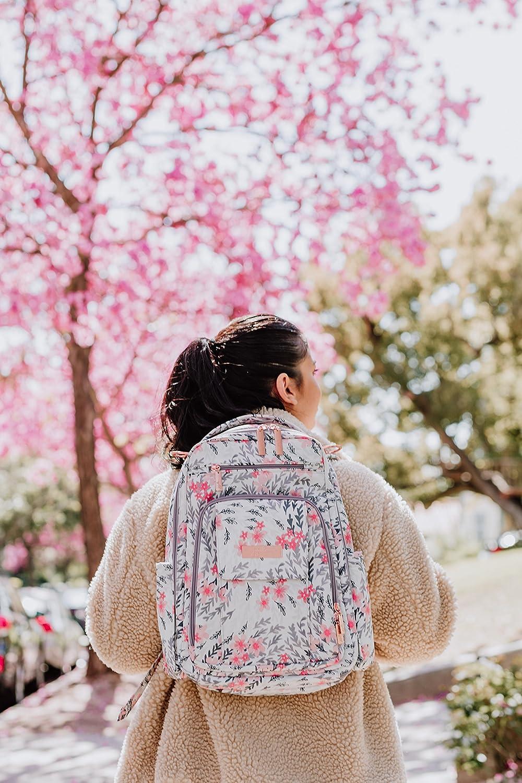 Sakura Swirl Ju-Ju-Be Ju-Ju-Be Rose Collection Be Right Back Backpack Diaper Bag