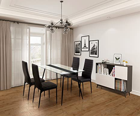Ofcasa, tavolo da pranzo in vetro e 4 sedie, mobili per sala da ...
