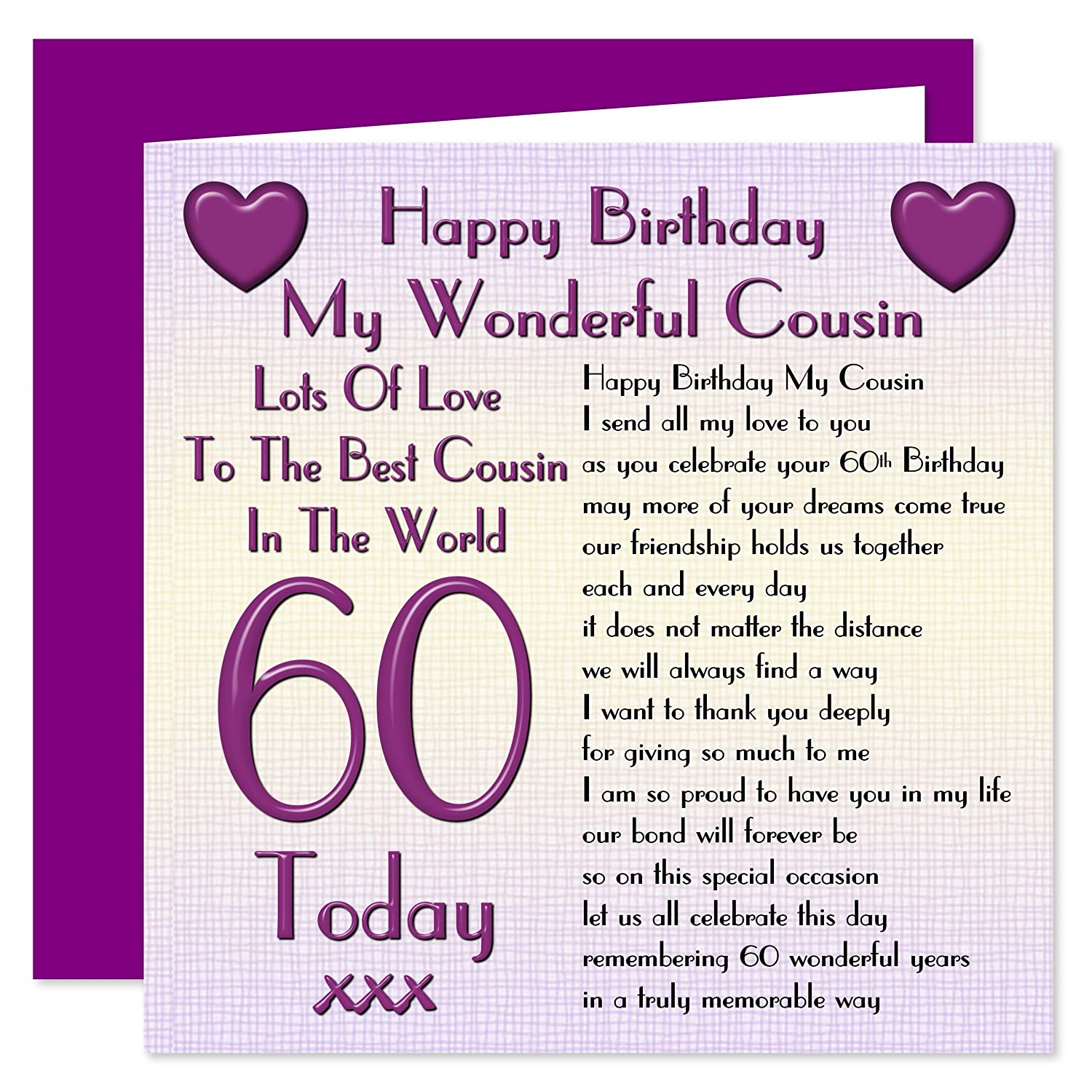 Cousin 60th Happy Birthday Card Lots Love To The Best Cousin