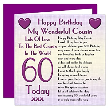 Cousin 60th Happy Birthday Card Lots Of Love To The Best Cousin In