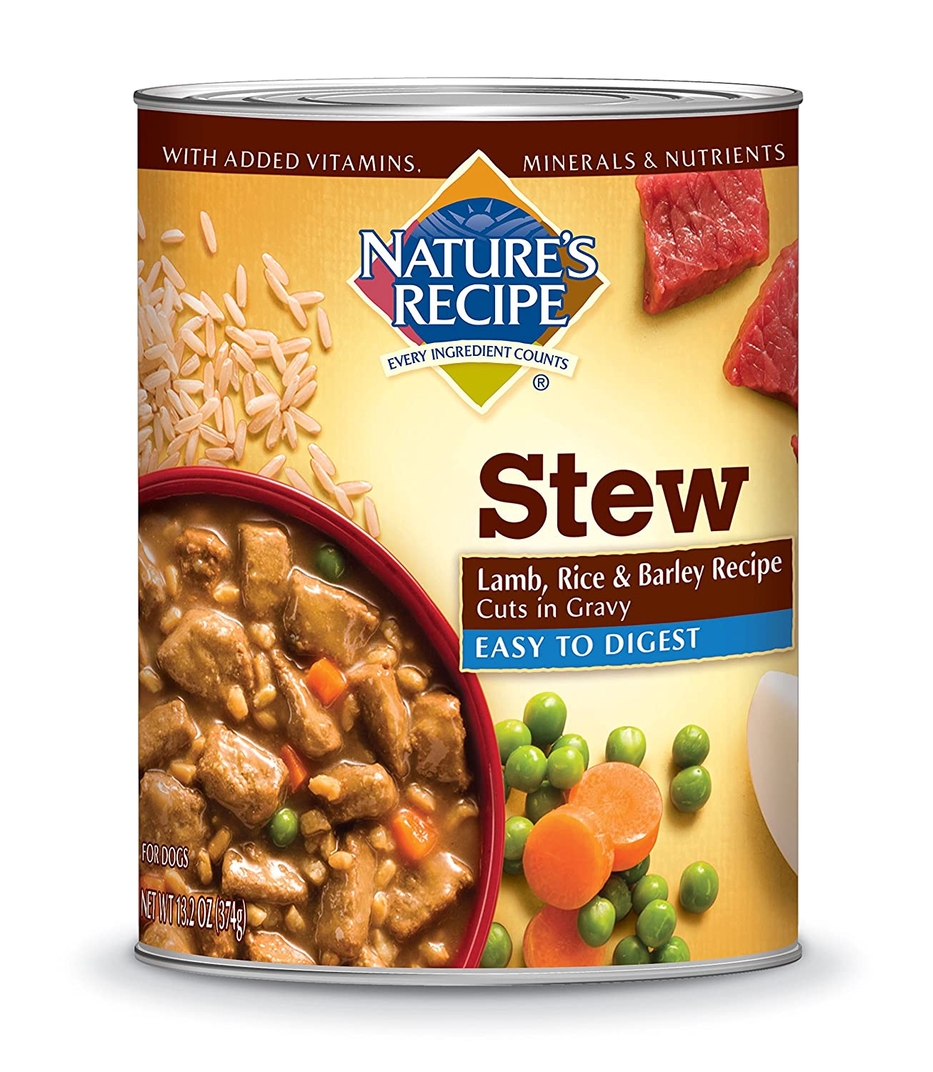 Nature's Recipe Easy to Digest Wet Dog Food Lamb Rice & Barley Recipe Cuts in Gravy 13.2-Ounce Can (Pack of 12)