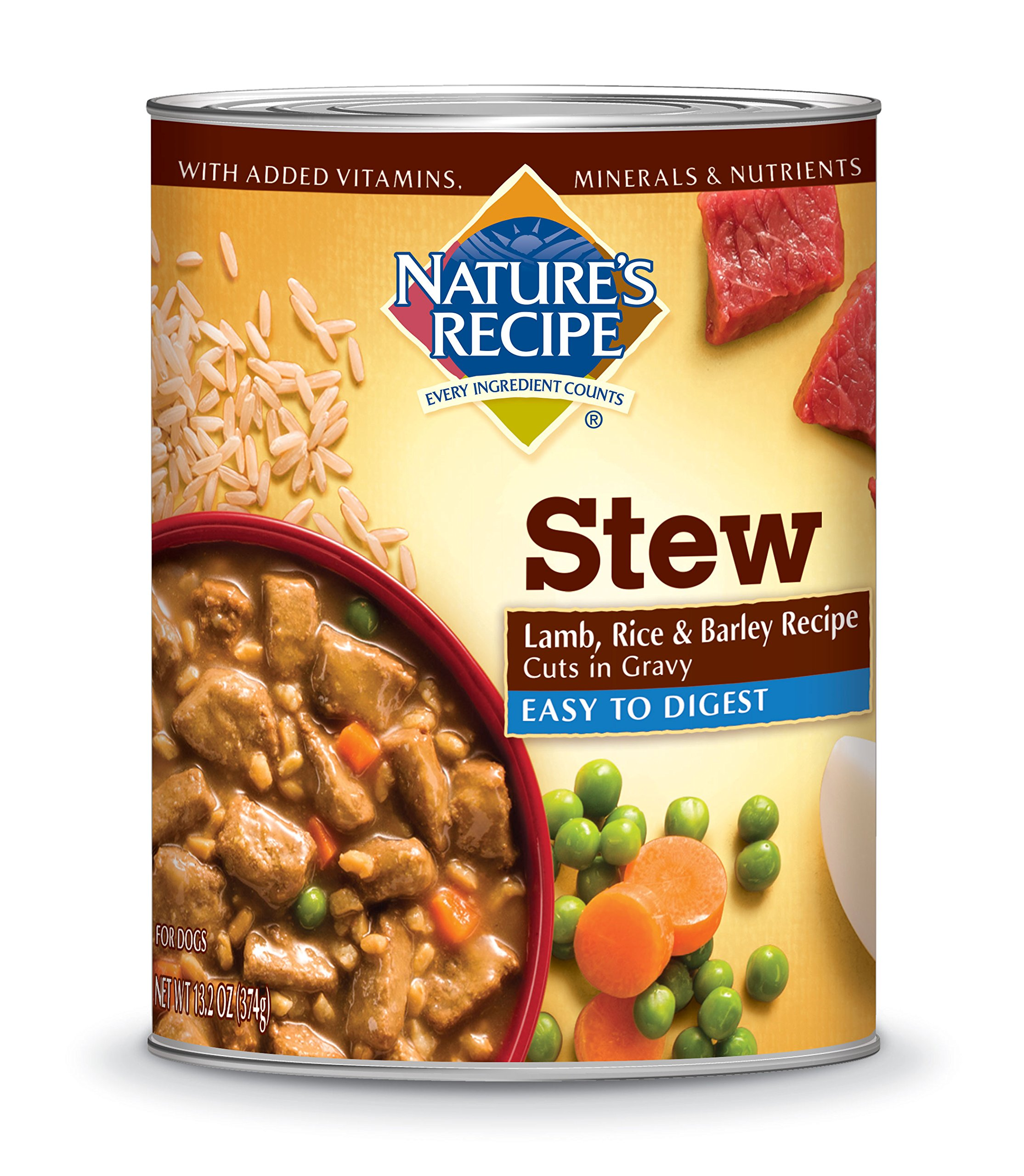 Nature's Recipe Easy to Digest Wet Dog Food, Lamb, Rice & Barley Recipe Cuts In Gravy, 13.2-Ounce Can (Pack of 12)