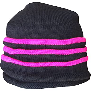 Teenagers   Youths Black Fluorescent Neon Stripes Design Thermal Slouch Beanie  Hat (Neon Pink) 5f9366fac95