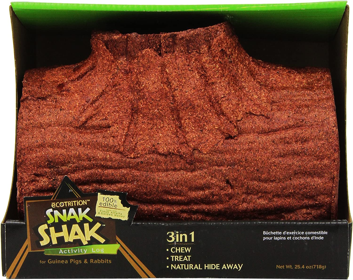 Ecotrition Snak Shak Large Activity Log For Guinea Pigs And Rabbits