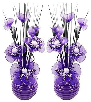 Passende Paar Lila Pflaume Kunstliche Blumen Mit Violett Vase Deko