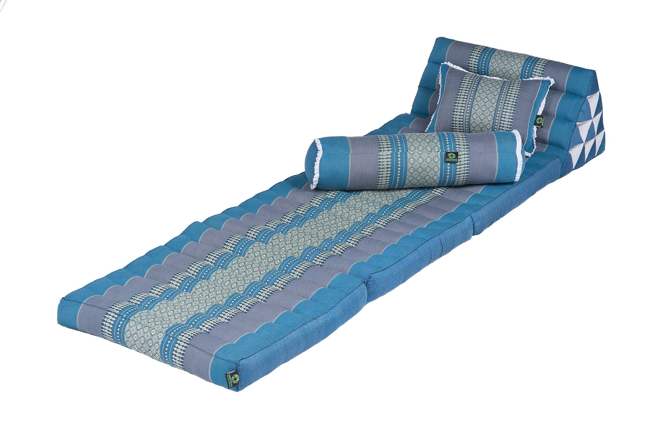 Kapok Dreams Triangle Set: 3-fold Mat + Pillow + Bolster, 100% Kapok-Stuffing, SkyBlues