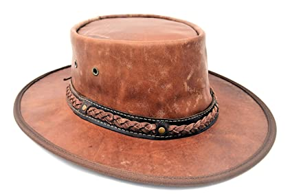 d7a582fea46e1 Barmah Packable Kangaroo Leather Outback Hat (X-Large, Hickory Crackle)